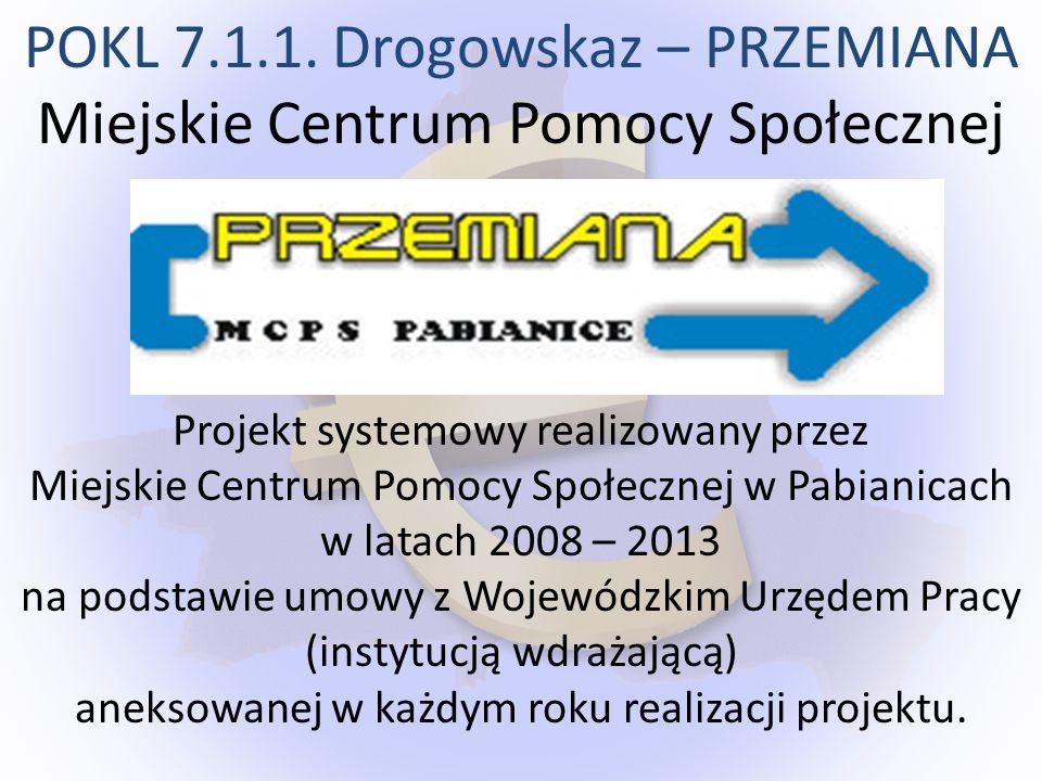 Projekt systemowy realizowany przez Miejskie Centrum Pomocy Społecznej w Pabianicach w latach 2008 – 2013 na podstawie umowy z Wojewódzkim Urzędem Pra