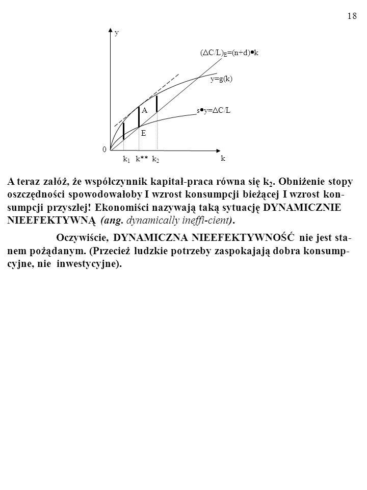 17 A 0 k k 1 k** k 2 ( C/L) E =(n+d) k y=g(k) E y s y= C/L Powiedzmy, że współczynnik kapitał-praca wynosi k 1.