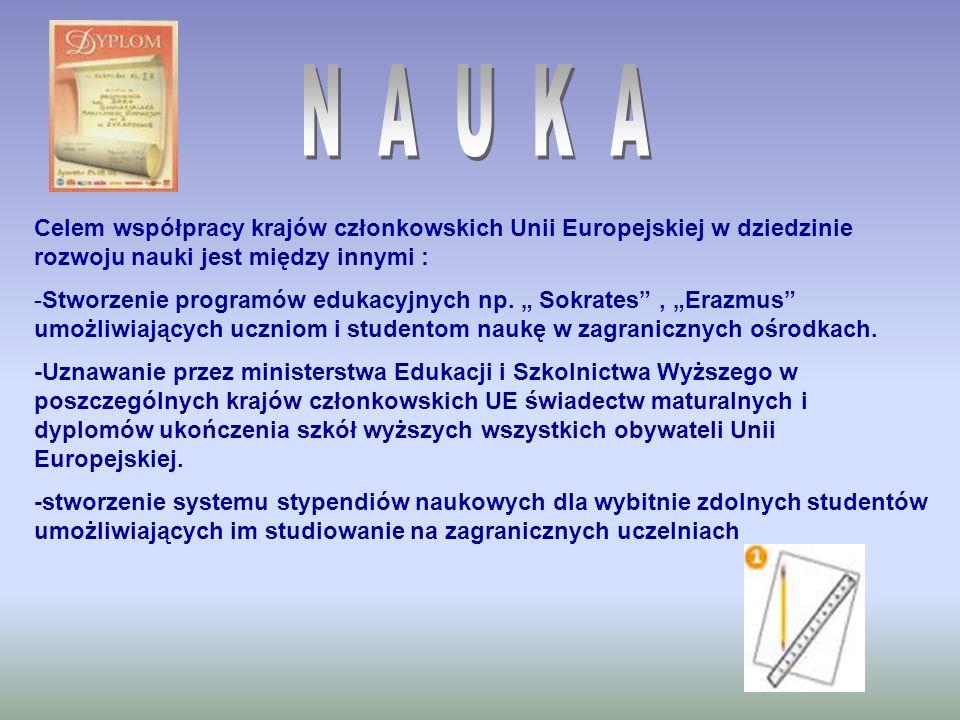 Celem współpracy krajów członkowskich Unii Europejskiej w dziedzinie rozwoju nauki jest między innymi : -Stworzenie programów edukacyjnych np. Sokrate