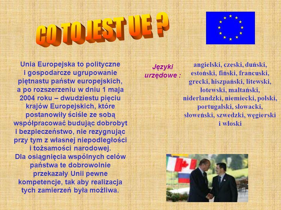 Unia Europejska to polityczne i gospodarcze ugrupowanie piętnastu państw europejskich, a po rozszerzeniu w dniu 1 maja 2004 roku – dwudziestu pięciu k
