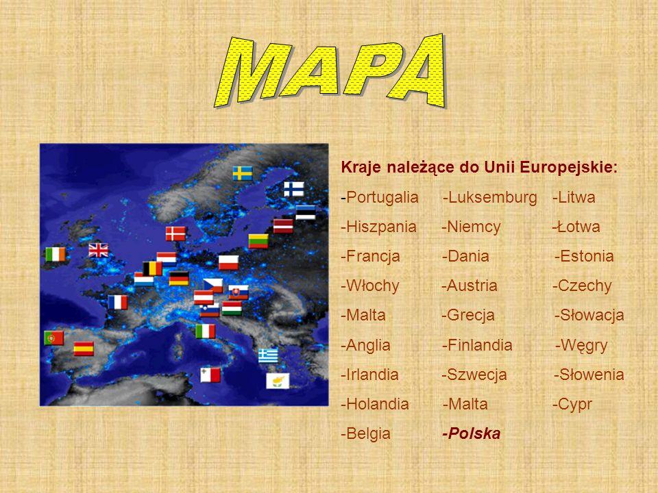 Kraje należące do Unii Europejskie: -Portugalia -Luksemburg -Litwa -Hiszpania -Niemcy -Łotwa -Francja -Dania -Estonia -Włochy -Austria -Czechy -Malta