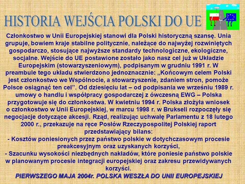 Członkostwo w Unii Europejskiej stanowi dla Polski historyczną szansę. Unia grupuje, bowiem kraje stabilne politycznie, należące do najwyżej rozwinięt