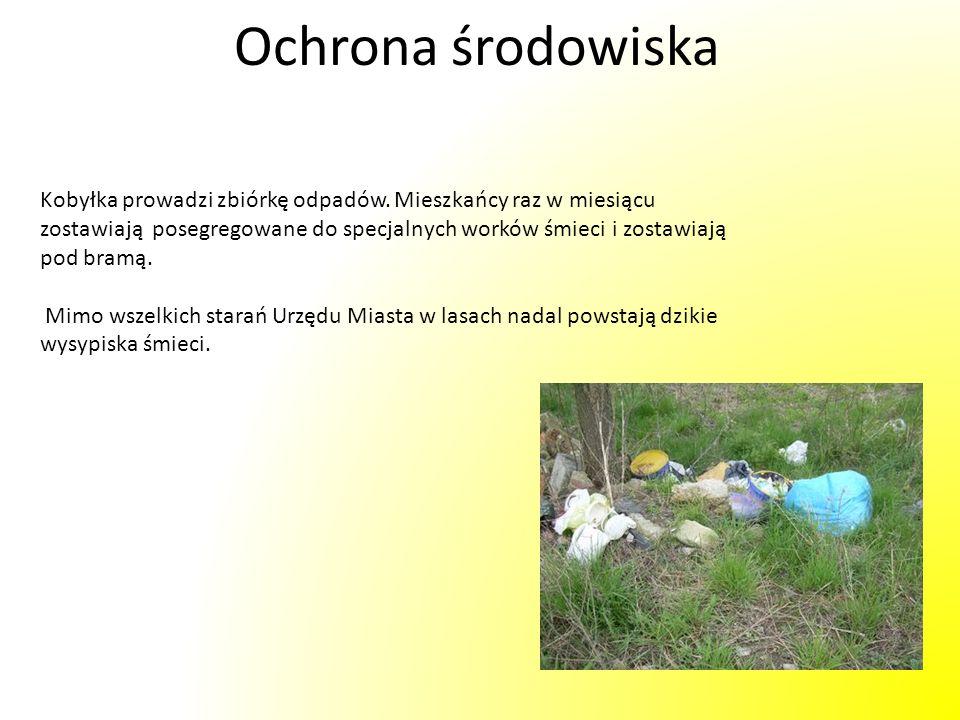 Ochrona środowiska Kobyłka prowadzi zbiórkę odpadów. Mieszkańcy raz w miesiącu zostawiają posegregowane do specjalnych worków śmieci i zostawiają pod