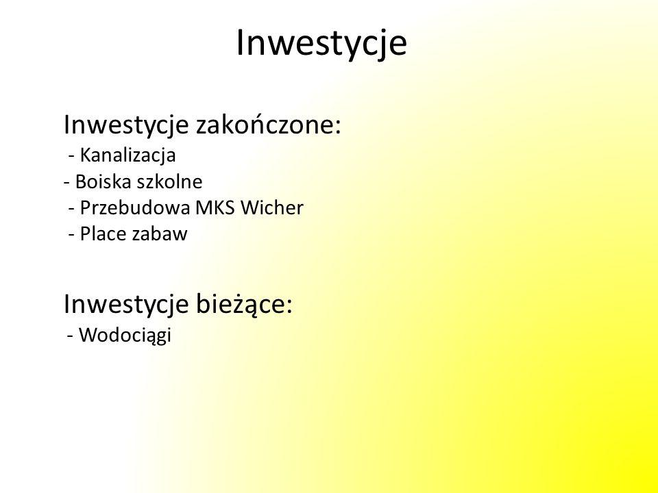 Inwestycje Inwestycje zakończone: - Kanalizacja - Boiska szkolne - Przebudowa MKS Wicher - Place zabaw Inwestycje bieżące: - Wodociągi