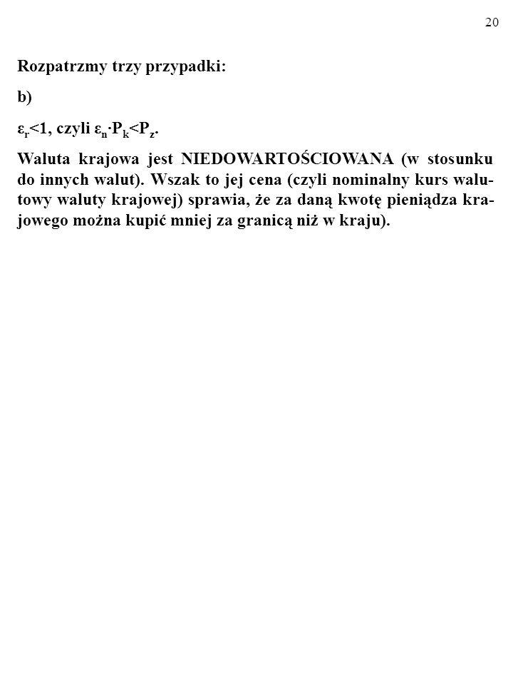 19 a) ε r >1, czyli ε n P k >P z. Kurs walut nie odpowiada ich parytetowi siły nabywczej. Towary krajowe NIE SĄ konkurencyjne cenowo w porównaniu z to