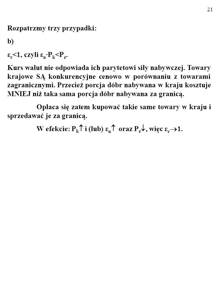 20 Rozpatrzmy trzy przypadki: b) ε r <1, czyli ε n P k <P z. Waluta krajowa jest NIEDOWARTOŚCIOWANA (w stosunku do innych walut). Wszak to jej cena (c