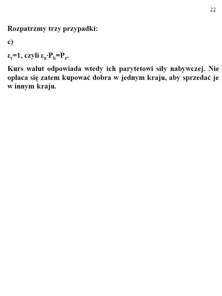 21 Rozpatrzmy trzy przypadki: b) ε r <1, czyli ε n P k <P z. Kurs walut nie odpowiada ich parytetowi siły nabywczej. Towary krajowe SĄ konkurencyjne c