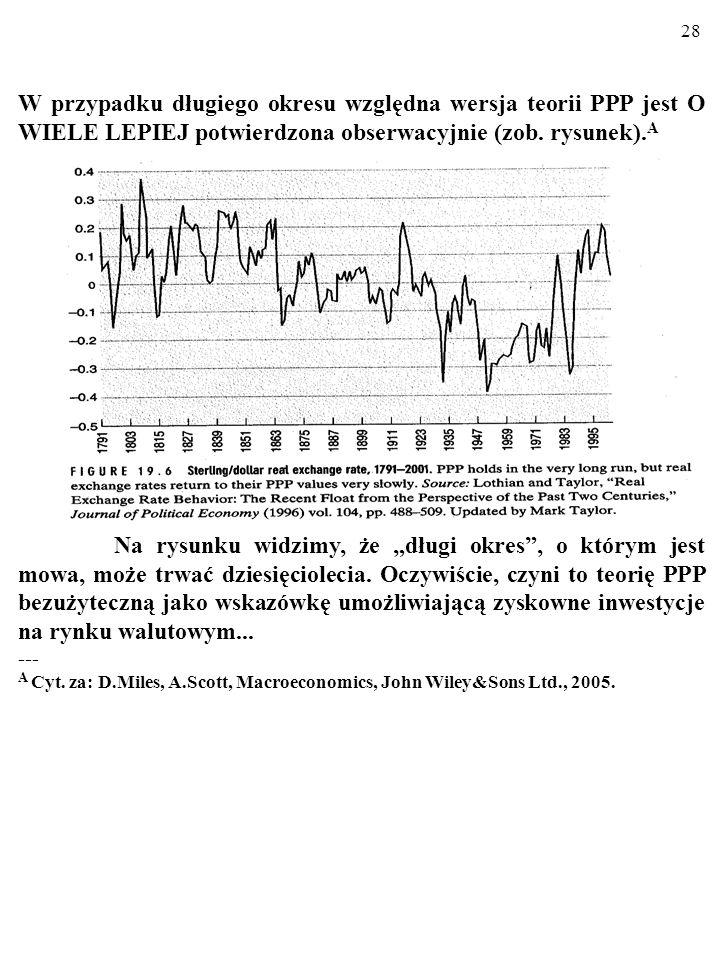 27 W przypadku długiego okresu względna wersja teorii PPP jest O WIELE LEPIEJ potwierdzona obserwacyjnie niż wersja absolut- na (zob. rysunek). A ----
