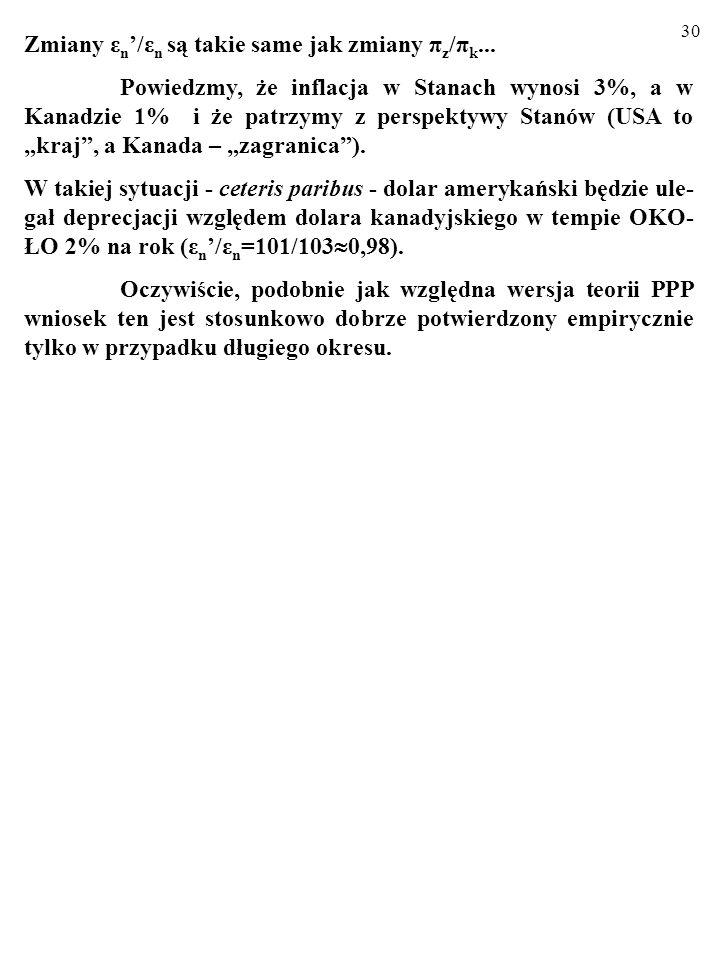 29 Zauważmy jeszcze, że zgodnie z teorią PPP (niezależnie od jej wersji) STOPĘ ZMIANY NOMINALNEGO KURSU WALUTY WYZNA- CZA – CETERIS PARIBUS – RÓŻNICA
