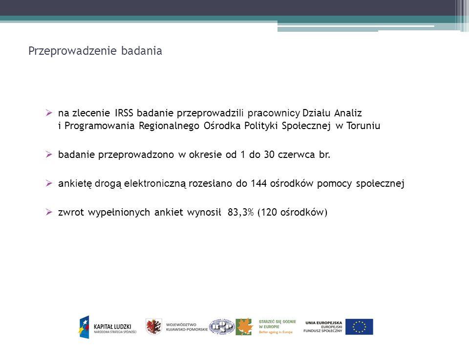 Przeprowadzenie badania na zlecenie IRSS badanie przeprowadzi li pracownicy Dział u Analiz i Programowania Regionalnego Ośrodka Polityki Społecznej w