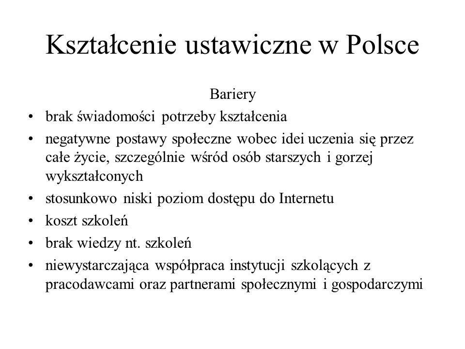 Kształcenie ustawiczne w Polsce Bariery brak świadomości potrzeby kształcenia negatywne postawy społeczne wobec idei uczenia się przez całe życie, szc
