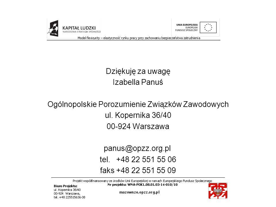 Dziękuję za uwagę Izabella Panuś Ogólnopolskie Porozumienie Związków Zawodowych ul. Kopernika 36/40 00-924 Warszawa panus@opzz.org.pl tel. +48 22 551