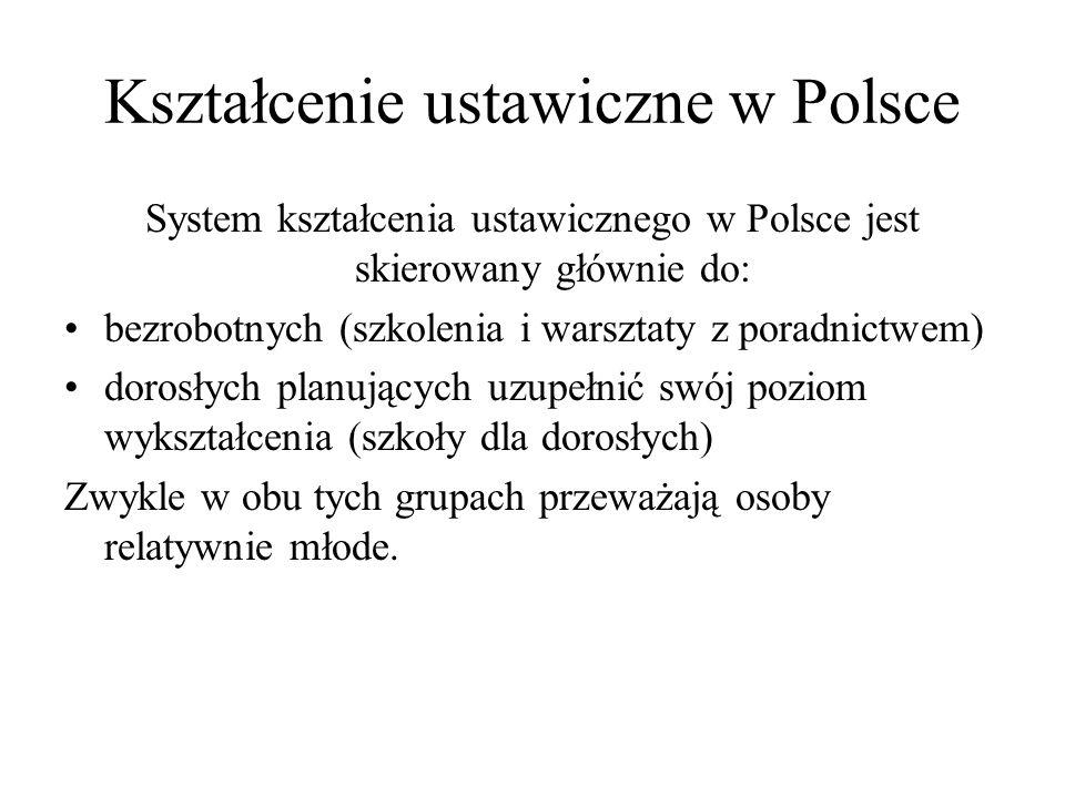 Kształcenie ustawiczne w Polsce System kształcenia ustawicznego w Polsce jest skierowany głównie do: bezrobotnych (szkolenia i warsztaty z poradnictwe