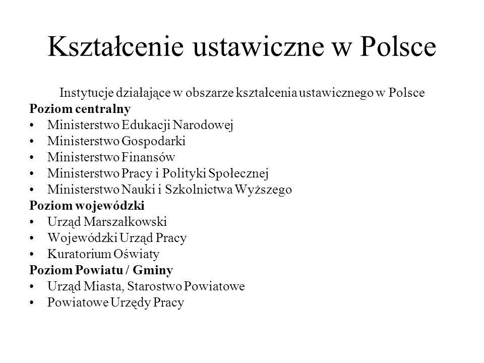 Kształcenie ustawiczne w Polsce Instytucje działające w obszarze kształcenia ustawicznego w Polsce Poziom centralny Ministerstwo Edukacji Narodowej Mi