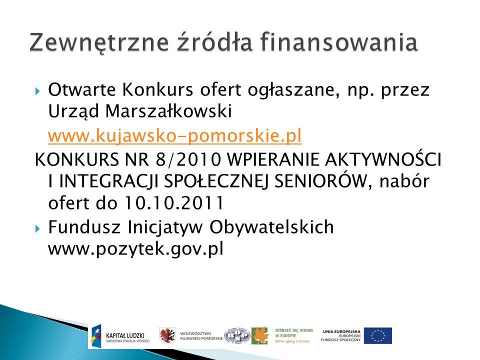 Otwarte Konkurs ofert ogłaszane, np. przez Urząd Marszałkowski www.kujawsko-pomorskie.pl KONKURS NR 8/2010 WPIERANIE AKTYWNOŚCI I INTEGRACJI SPOŁECZNE