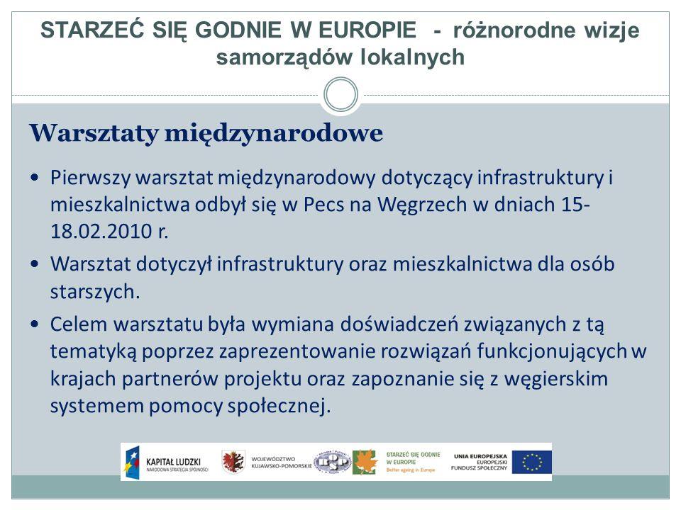 Warsztaty międzynarodowe Pierwszy warsztat międzynarodowy dotyczący infrastruktury i mieszkalnictwa odbył się w Pecs na Węgrzech w dniach 15- 18.02.2010 r.