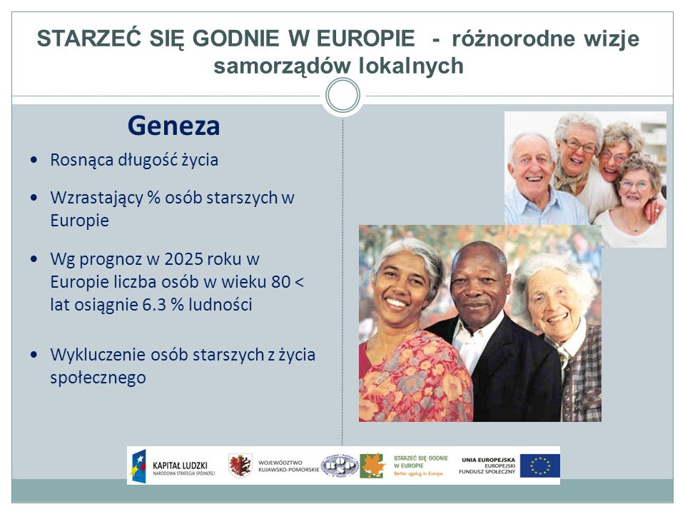 STARZEĆ SIĘ GODNIE W EUROPIE - różnorodne wizje samorządów lokalnych Geneza Rosnąca długość życia Wzrastający % osób starszych w Europie Wg prognoz w 2025 roku w Europie liczba osób w wieku 80 < lat osiągnie 6.3 % ludności Wykluczenie osób starszych z życia społecznego
