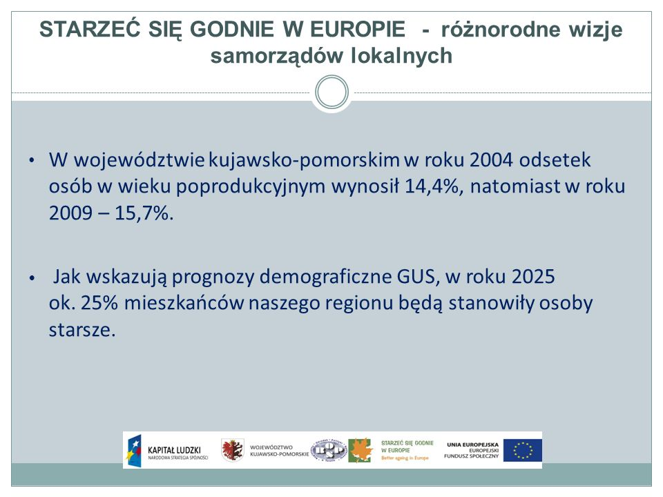 STARZEĆ SIĘ GODNIE W EUROPIE - różnorodne wizje samorządów lokalnych Tematy warsztatów Mieszkalnictwo i infrastruktura: Adaptacja mieszkań do specyficznych wymagań, finansowanie zmian itp.