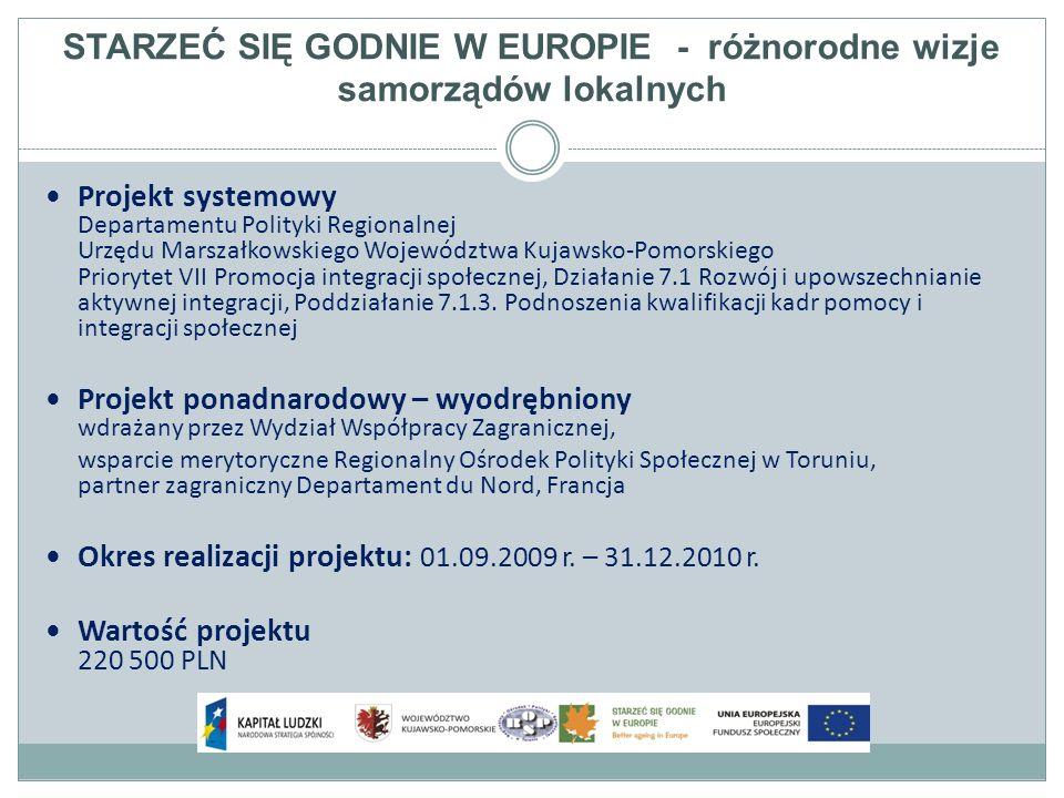 STARZEĆ SIĘ GODNIE W EUROPIE - różnorodne wizje samorządów lokalnych W ramach projektu odbyła się konferencja inauguracyjna w Lille we Francji w dniu 11.09.2009 r.
