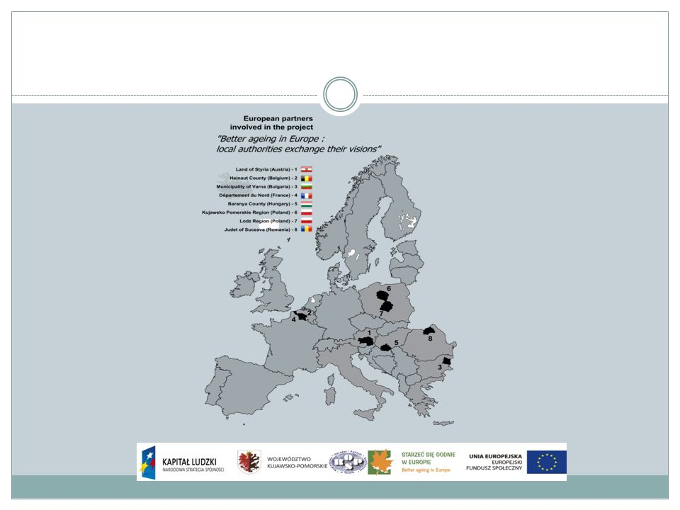 STARZEĆ SIĘ GODNIE W EUROPIE - różnorodne wizje samorządów lokalnych Cele szczegółowe projektu: Rozpoznanie doświadczeń innych krajów i wypracowywanie nowych rozwiązań poprzez uczestnictwo w spotkaniach wyjazdowych międzynarodowej grupy roboczej, Podwyższanie kwalifikacji kadr jednostek pomocy i integracji społecznej województwa kujawsko-pomorskiego, poprzez udzielenie im wsparcia merytorycznego i metodycznego w zakresie rozpoznanych doświadczeń innych krajów i wypracowanie nowych rozwiązań.