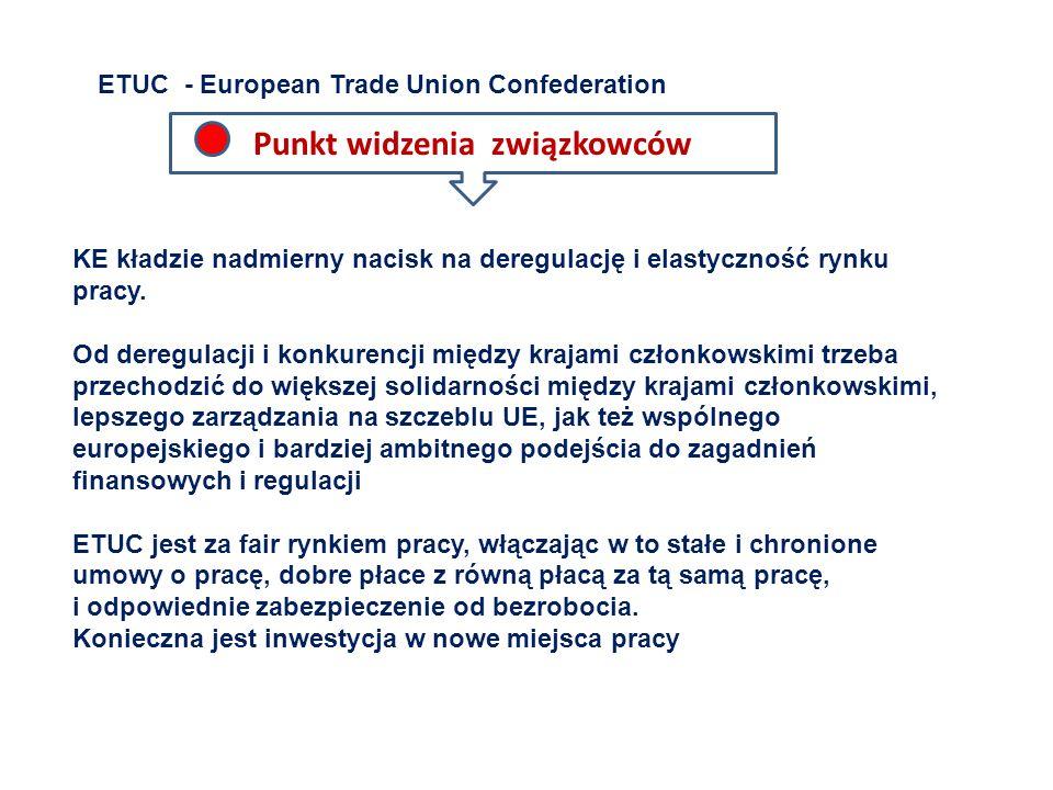 ETUC - European Trade Union Confederation KE kładzie nadmierny nacisk na deregulację i elastyczność rynku pracy. Od deregulacji i konkurencji między k