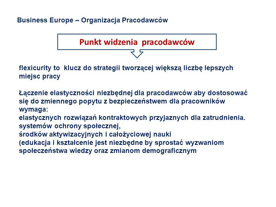 Punkt widzenia pracodawców Business Europe – Organizacja Pracodawców flexicurity to klucz do strategii tworzącej większą liczbę lepszych miejsc pracy