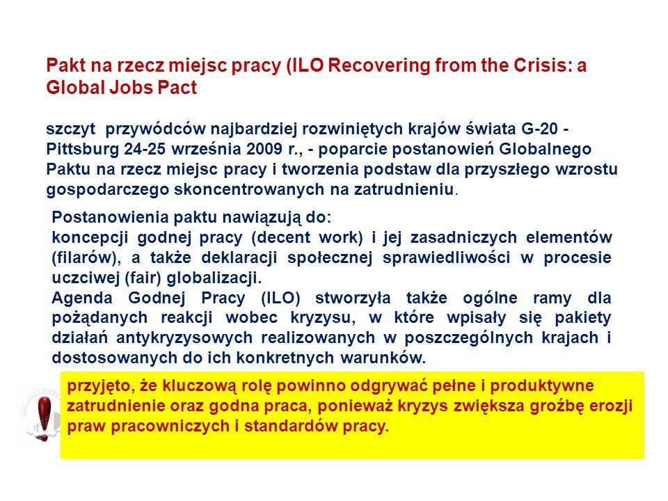 Pakt na rzecz miejsc pracy (ILO Recovering from the Crisis: a Global Jobs Pact szczyt przywódców najbardziej rozwiniętych krajów świata G-20 - Pittsbu