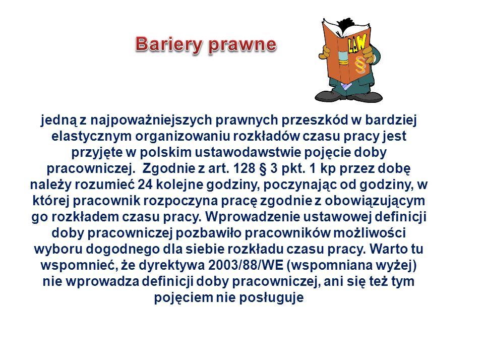 jedną z najpoważniejszych prawnych przeszkód w bardziej elastycznym organizowaniu rozkładów czasu pracy jest przyjęte w polskim ustawodawstwie pojęcie