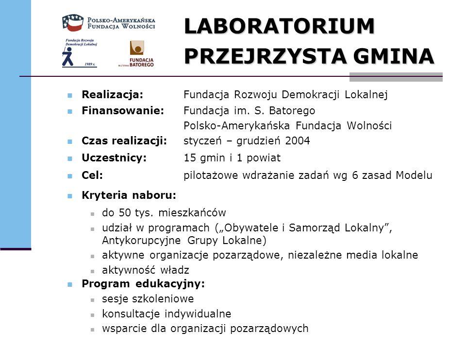 LABORATORIUM PRZEJRZYSTA GMINA Realizacja: Fundacja Rozwoju Demokracji Lokalnej Finansowanie:Fundacja im. S. Batorego Polsko-Amerykańska Fundacja Woln