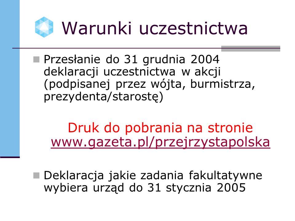 Warunki uczestnictwa Przesłanie do 31 grudnia 2004 deklaracji uczestnictwa w akcji (podpisanej przez wójta, burmistrza, prezydenta/starostę) Druk do pobrania na stronie www.gazeta.pl/przejrzystapolska www.gazeta.pl/przejrzystapolska Deklaracja jakie zadania fakultatywne wybiera urząd do 31 stycznia 2005