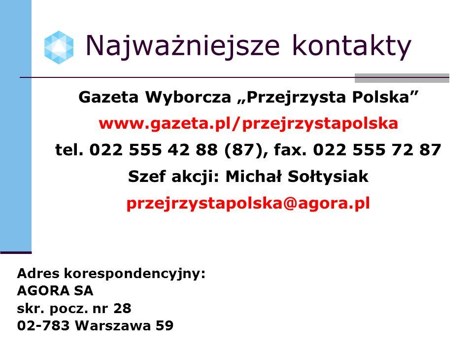 Najważniejsze kontakty Gazeta Wyborcza Przejrzysta Polska www.gazeta.pl/przejrzystapolska tel. 022 555 42 88 (87), fax. 022 555 72 87 Szef akcji: Mich