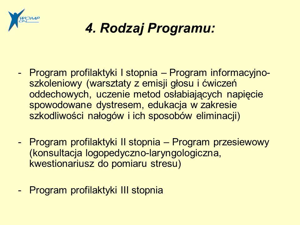 4. Rodzaj Programu: -Program profilaktyki I stopnia – Program informacyjno- szkoleniowy (warsztaty z emisji głosu i ćwiczeń oddechowych, uczenie metod
