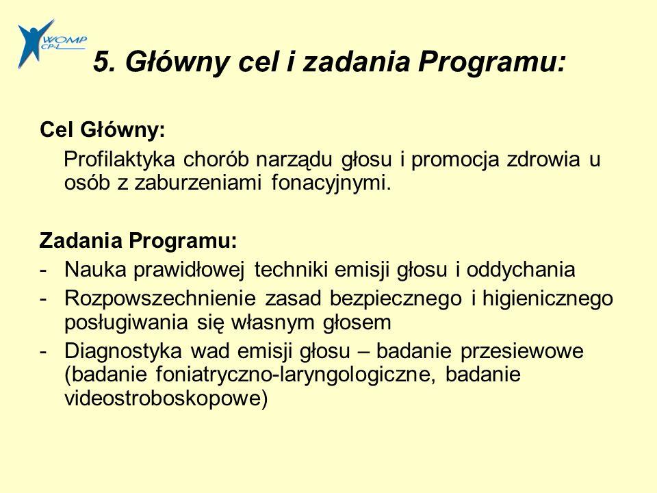 5. Główny cel i zadania Programu: Cel Główny: Profilaktyka chorób narządu głosu i promocja zdrowia u osób z zaburzeniami fonacyjnymi. Zadania Programu