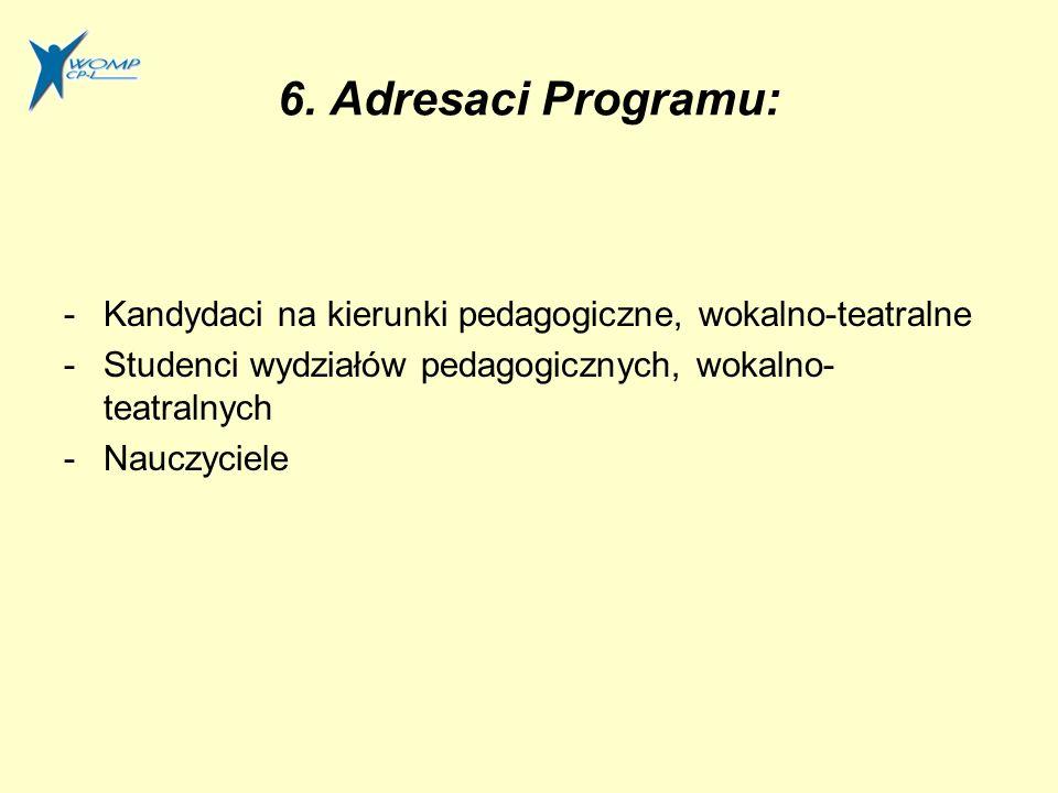 6. Adresaci Programu: -Kandydaci na kierunki pedagogiczne, wokalno-teatralne -Studenci wydziałów pedagogicznych, wokalno- teatralnych -Nauczyciele