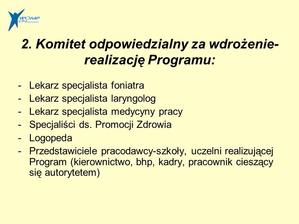 2. Komitet odpowiedzialny za wdrożenie- realizację Programu: -Lekarz specjalista foniatra -Lekarz specjalista laryngolog -Lekarz specjalista medycyny