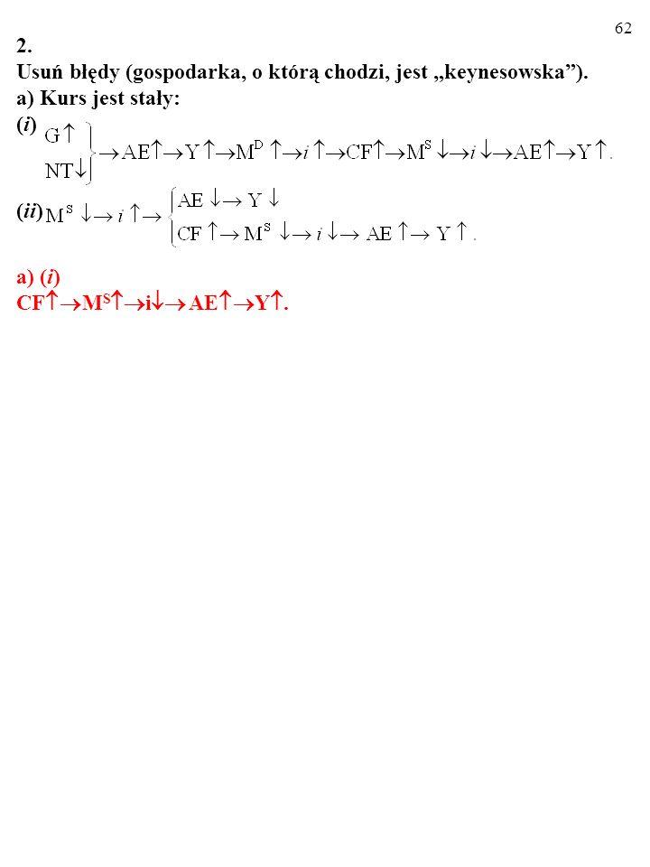 61 2. Usuń błędy (gospodarka, o którą chodzi, jest keynesowska). a) Kurs jest stały: (i) (ii)
