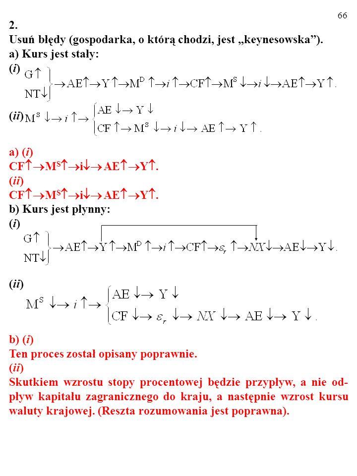 65 2. Usuń błędy (gospodarka, o którą chodzi, jest keynesowska). a) Kurs jest stały: (i) (ii) a) (i) CF M S i AE Y. (ii) CF M S i AE Y. b) Kurs jest p