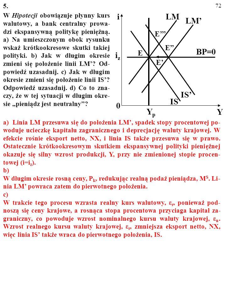 71 5. W Hipotecji obowiązuje płynny kurs walutowy, a bank centralny prowa- dzi ekspansywną politykę pieniężną. a) Na umieszczonym obok rysunku wskaż k