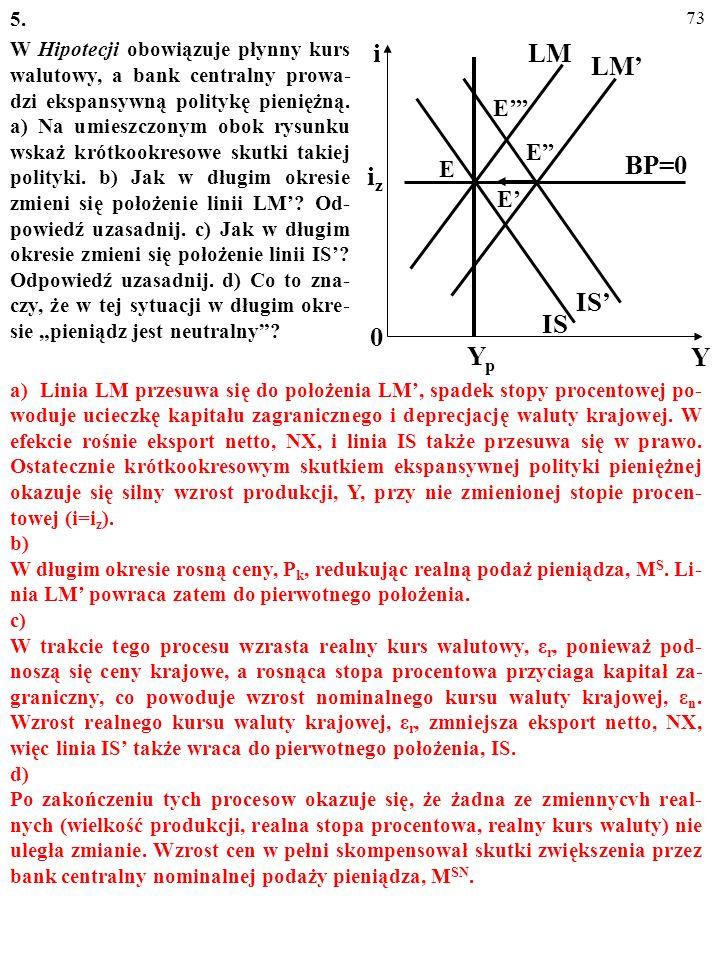 72 5. W Hipotecji obowiązuje płynny kurs walutowy, a bank centralny prowa- dzi ekspansywną politykę pieniężną. a) Na umieszczonym obok rysunku wskaż k