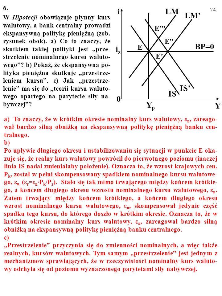 73 5. W Hipotecji obowiązuje płynny kurs walutowy, a bank centralny prowa- dzi ekspansywną politykę pieniężną. a) Na umieszczonym obok rysunku wskaż k