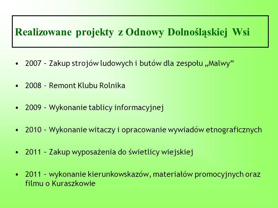 Realizowane projekty z Odnowy Dolnośląskiej Wsi 2007 – Zakup strojów ludowych i butów dla zespołu Malwy 2008 - Remont Klubu Rolnika 2009 – Wykonanie t