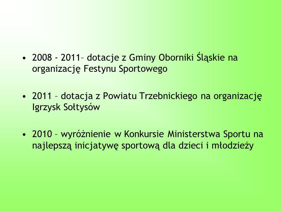 2008 - 2011– dotacje z Gminy Oborniki Śląskie na organizację Festynu Sportowego 2011 – dotacja z Powiatu Trzebnickiego na organizację Igrzysk Sołtysów