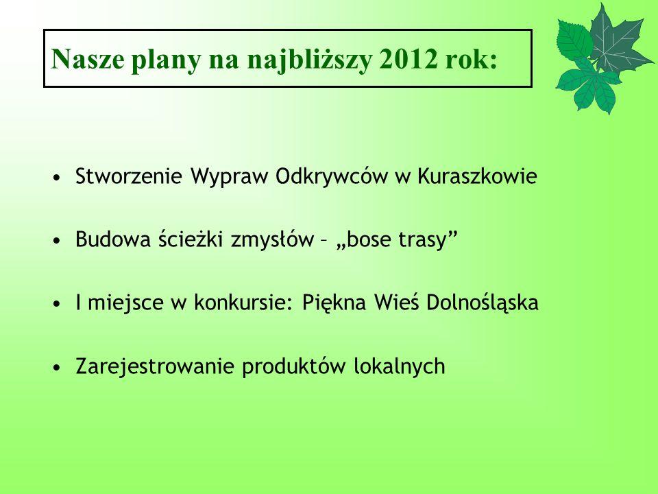 Nasze plany na najbliższy 2012 rok: Stworzenie Wypraw Odkrywców w Kuraszkowie Budowa ścieżki zmysłów – bose trasy I miejsce w konkursie: Piękna Wieś D