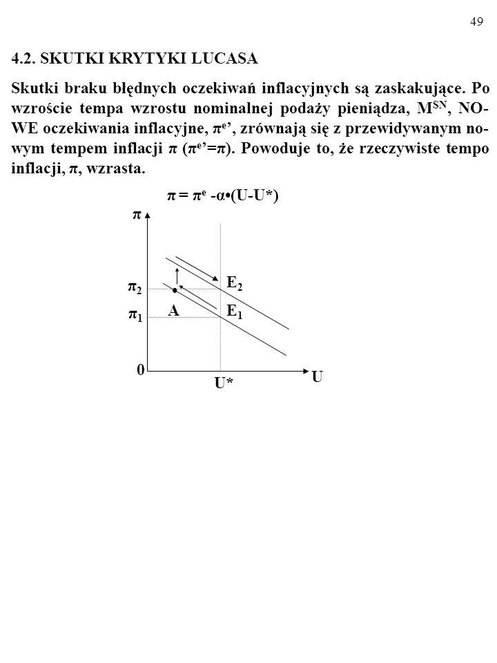 48 Oto tzw. KRYTYKA LUCASA (ang. Lucas critique): Kiedy informacje o modelu makroekonomicznym i o wartościach występujących w nim zmiennych i parametr