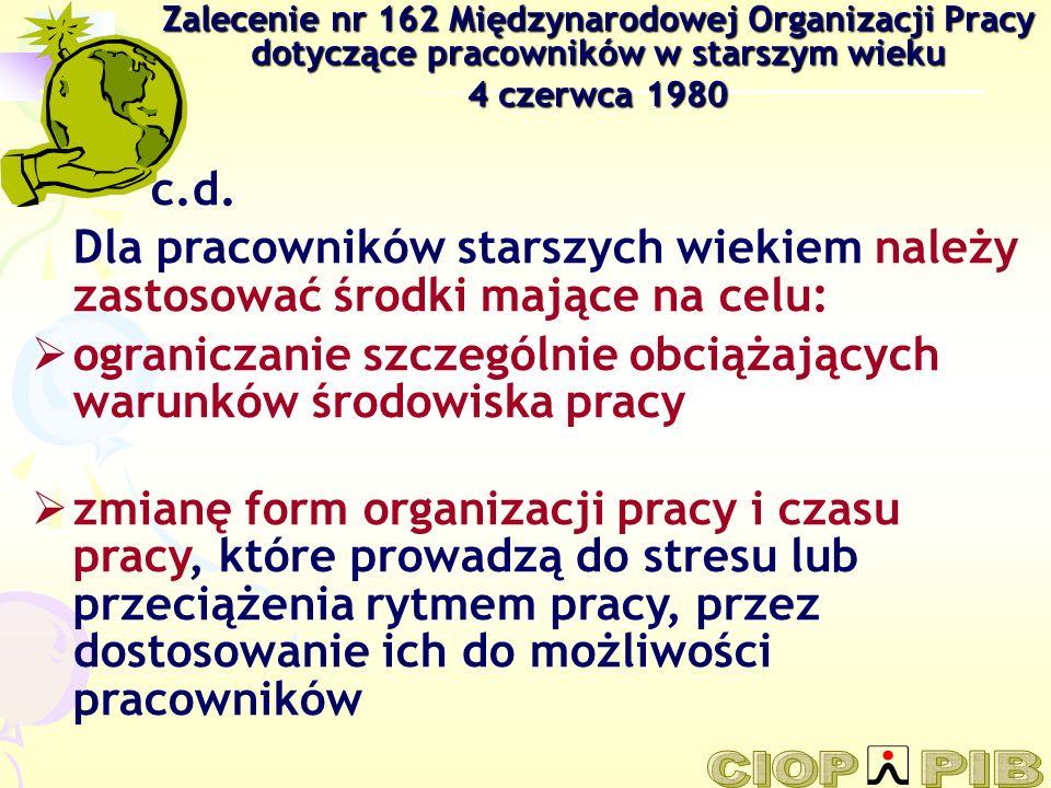 Zalecenie nr 162 Międzynarodowej Organizacji Pracy dotyczące pracowników w starszym wieku 4 czerwca 1980 c.d. Dla pracowników starszych wiekiem należy