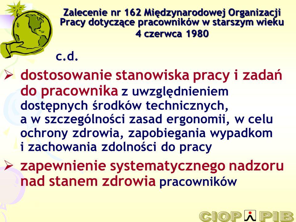 Zalecenie nr 162 Międzynarodowej Organizacji Pracy dotyczące pracowników w starszym wieku 4 czerwca 1980 c.d. dostosowanie stanowiska pracy i zadań do