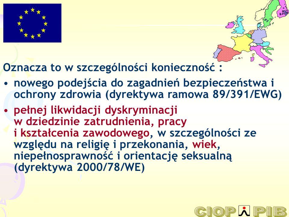 Oznacza to w szczególności konieczność : nowego podejścia do zagadnień bezpieczeństwa i ochrony zdrowia (dyrektywa ramowa 89/391/EWG) pełnej likwidacj
