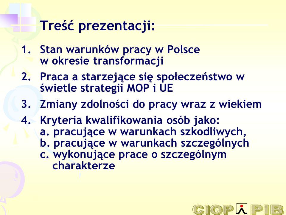 Treść prezentacji: 1.Stan warunków pracy w Polsce w okresie transformacji 2.Praca a starzejące się społeczeństwo w świetle strategii MOP i UE 3.Zmiany