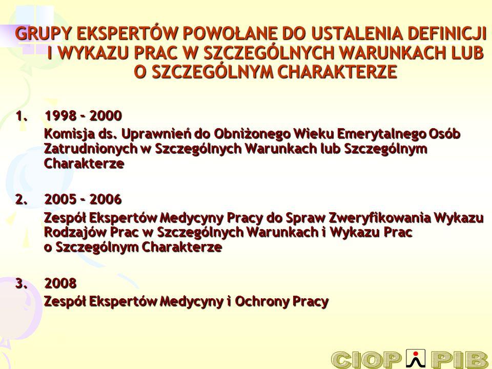 GRUPY EKSPERTÓW POWOŁANE DO USTALENIA DEFINICJI I WYKAZU PRAC W SZCZEGÓLNYCH WARUNKACH LUB O SZCZEGÓLNYM CHARAKTERZE 1.1998 – 2000 Komisja ds. Uprawni