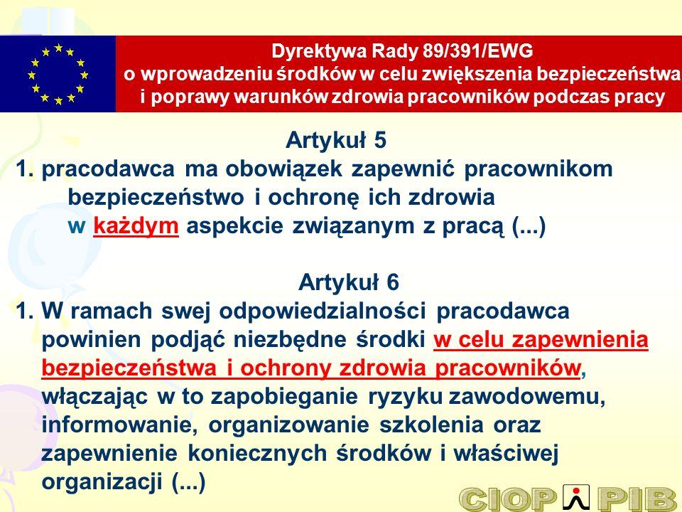 Dyrektywa Rady 89/391/EWG o wprowadzeniu środków w celu zwiększenia bezpieczeństwa i poprawy warunków zdrowia pracowników podczas pracy Artykuł 5 1. p